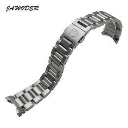 Wholesale pure buttons - JAWODER Watchband Men 22mm Pure Solid Notch Stainless Steel Brushed Watch Band Strap Bracelets for TAG HEUER CARRERA