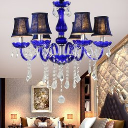 French Romantic Crystal Chandeliers Lamp Ceramic Art Metal Big LED 6 Lights Handmade Glass Dining Room Artist Lighting