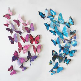Wholesale Large Butterfly Wall Stickers - butterfly 3d butterfly decoration wall stickers 12pc 3d butterflies 3d butterfly pvc removable wall stickers butterflys in stock