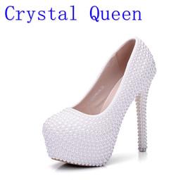 Wholesale Wholesale Platform High Heels - Crystal Queen Pearl White Fashion Women's Wedding Pumps High Heel Platform Lady Wedding Shoes Gentlewomen Bridal Dress Shoes