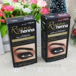 Wholesale plant eyelashes - Wholesale- Brand Ryana Henna Eyebrow Eyelashes Cream Professional Natural Plant Colour Tint Kit Set Dye Brown Black