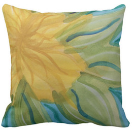 "Acheter en ligne Carré jaune-Throw Pillow Case, Vivid abstract aquarelle fleur jaune Couvre-coussin carré Sofa, ""16inch 18inch 20inch"", paquet de X"