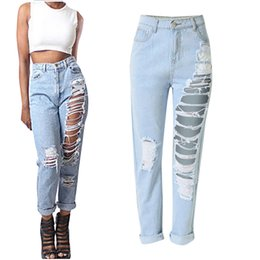 Wholesale Womens Summer Trousers - Wholesale- Spring Summer Fashion Pencil Jeans Womens Loose High Waist Washed Vintage Ripped Long Denim Pants Sexy Ladies Hole Trousers XXL