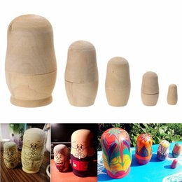 Wholesale Painted Gifts - 5pcs set Unpainted DIY Blank Wooden Russian Nesting Dolls Matryoshka Gift Hand Paint Toys Home Decoration Gifts