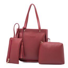 Wholesale Leather Tote Bags For Spring - 3pcs New Fashion Spring Women Leather Handbag PU Shoulder Bag Clutch High Quality Shoulder Bag For Women Tote Bag Set Bolsa