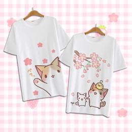 Wholesale Japanese Women Cotton Tops - Wholesale- 2017 Summer Harajuku Shirt Neko Atsume Anime Cartoon Japanese Kawaii Clothes Casual Female T-shirt Cat Tops Tee