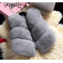 Wholesale Grey Fox Fur Coats - Women's Faux Silver Fox Fur Short Vests 2016 Winter Fashion Thick Imitate Fur Sleeveless Vest Coat Jackets Women Grey Red Blue