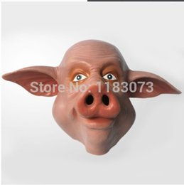 Wholesale Props Pig - Wholesale- Cute Animal Pig Mask Adult Full Head Latex Mask Halloween Masquerade Swine Rubber Masks Carnival Party Cosplay Costume Props