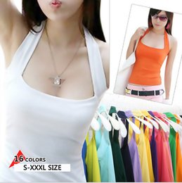 Wholesale Candy Shirts For Girls - Wholesale-new women Halter Neck Sheath slim vest sexy camis soft Candy colors cotton shirt tank tops sleeveless garment for girl