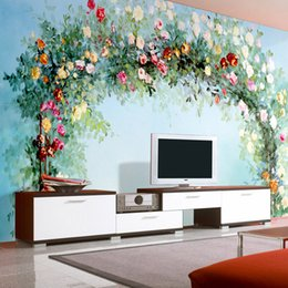 Wholesale Oil Paintings Woods - Wholesale- Custom Mural Wallpaper European Pastoral Flowers Oil Painting Living Room Sofa TV Background Wallpaper Wall Covering Roll