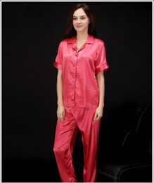 Wholesale Lingerie For Xl Girl - pajama sets pyjamas women sexy lingerie silk pajamas for women short sleeve woman sleepwear girls nightgowns solid color SJYT96