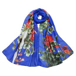 Écharpes de pivoine en Ligne-Nouveau Casual Pivoine Floral Écharpe Femmes Graduelle En Mousseline De Soie Soie Wrap Foulard Long Doux Foulards Femmes Bref Serviette De Plage