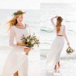 Wholesale Stylish Bridal Dresses - 2017 Stylish Two Pieces Beach Wedding Dresses Lace Top Long Sleeves Chiffon Scoop Neck Boho Bridal Gowns Long Vestidos De Noiva Cheap
