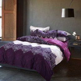 Wholesale Quilt Bedspread Bedding Sets - Wholesale-purple blue bedding set 4pcs cotton duvet cover set bed quilt queen size bedspread pillowcase bedclothes bed sheet set bed linen