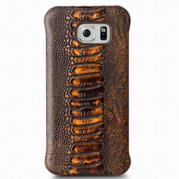 Wholesale High Class - Ostrich leg pattern leather back case for Samsung Galaxy S6 edge,ultra thin high class back cover for galaxy S6