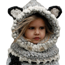 Wholesale Animal Ears Scarf - 2017 Coif 3D Ears Animal Knitted Caps Fox Headwear Winter Kids Boy Girl Hats Children Warm Knitted Hooded Scarf Hat Kids Gifts