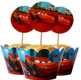 Wholesale Car Wrappers - Wholesale-24pc Cars Party Paper Cupcake wrappers toppers for kids birthday party decoration cake cups (12pcs wraps+12pcs toppers)