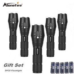Wholesale Portable Torch Set - AloneFire E17 5pcs Ultra Bright CREE XML T6 zoom LED Flashlight 5 Modes 3800 Lumens Zoomable LED Torch gift set