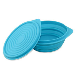 Wholesale Circular Plastic Boxes - Portable Silicon lunch boxs Collapsible Eco-Friendly FDA silicone bowls portable circular red blue plastic student lunch box Child Bowl