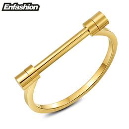 bracelete de pulseira de ouro plano Desconto Enfashion Flat Shackle Parafuso Pulseira de Aço Cor de Ouro Pulseiras Pulseiras Para As Mulheres Cuff Pulseira Jóias Pulseiras