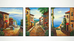 Wholesale Artist Picture - Paintings Italian hut 3 pieces -PALETTE KNIFE Figure By Artists Home Decorative Art Picture Printed On Canvas