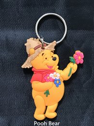 Wholesale Mini Winnie Pooh - Mini Winnie The Pooh Doll Key Chain Pendant PVC Soft plastic double Figure Mixed Style Cute Cartoon Bear For Kids Gift