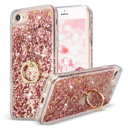 Wholesale For iPhone Bling Bling Case For iPhone Liquid Quicksand Case For iPhone Plus Ring Holder Case with OPP Package