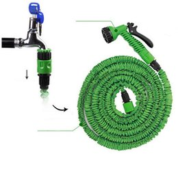 Wholesale Expandable Hose Retail - 100FT Expandable Flexible Garden Magic Water Hose With Spray Nozzle Head Blue Green with retail box Fedex Free Shipping