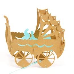 Детские карты онлайн-Baby shower розовый синий baby car киригами оригами бумаги декоративно-прикладного искусства 3d лазерная резка день рождения приглашение открытки поздравительные открытки