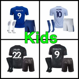 Wholesale Grey Child - 2017 Home away 3rd kids kit jersey 17 18 child MORATA FABREGAS OSCAR HAZARD MIAZGA WILLIAN TERRY DIEGO COSTA jersey
