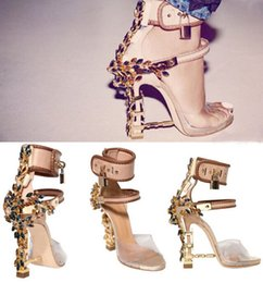 Wholesale Green Crystal Pumps - Transparent PVC Crystal Studded Gladiator Sandals Women Padlock Spiked High Heels Pumps Woman Colorful Beaded Rihanna Casual Wedding Shoes
