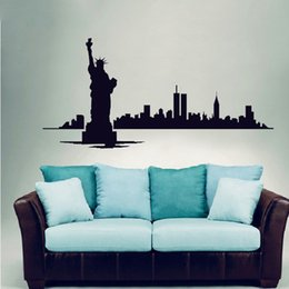 Wholesale City Wall Stickers - NEW YORK Skyline Modern City Picture Wall Decals Vinyl Stickers Home Decoration Room Wall Art Decor Custom Pasting Position