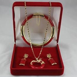 2017 Fine Jewellery 18k oro amarillo Red Jade Earring Pendant Set pulsera desde fabricantes