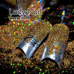 Wholesale Acrylic Nail Tips Small - Wholesale-New design Small Glitter Dust Nail Tips UV Acrylic Decoration Colorful Shine Bling DIY Nail Art Laser Golden Color N47
