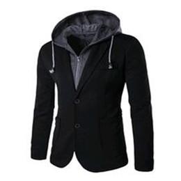 Wholesale Hot Slim Patch - Wholesale- New Hot 2016 Faux Two Piece Set Casual Suit Jacket Slim Long-sleeve Button Patch Suit