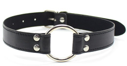 Wholesale Women Metal Restraints - 4.5CM Fetish Bondage Head Harness Restraint Leather&Metal O Ring Open Mouth Gag For Woman And Men Sex Toys