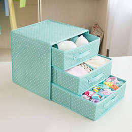 Wholesale Square Bob - Oxford Cloth Underwear Storage Box Collapsible Fabric 3 Drawer Storage Boxes Containers Bits & Bobs Organiser Unit