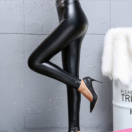 più le ghette gotiche di formato Sconti Nuovo 2019 Nero PU Leggings elasticizzati in pelle sintetica Vita alta Donne Leggings matita Sexy pantaloni punk Per Le donne Slim Fit Legging Pantaloni caldi