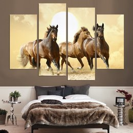 Wholesale Horse Art Canvas Set - 4Panel Modern Horse Canvas Painting 4 Panel Set Abstract Canvas Art Wall Hangings Restaurant Decoration Pictures