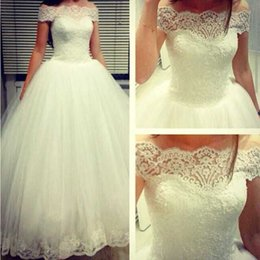 Wholesale Short Lenght Wedding Dresses - Romantic 2015 Ball Gown Wedding Dress Boat Neck Short Sleeve Floor Lenght White Tulle Bridal Gowns