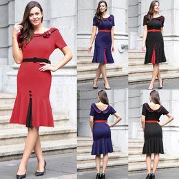 Wholesale Women S Work Attire - New Fashion Women Laciness Slim Short Sleeve Mermaid Knee Tight-fitting Pencil Dress Business Work Dress Business Attire