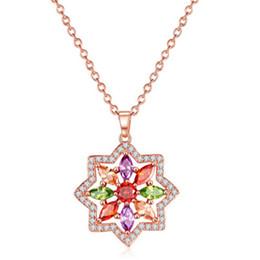 Wholesale Swarovski Shape - Statement Pendant Neckalce Flower Shape Design AAA Swarovski Crystal Stones Rose Gold Necklace For Women 022-NE0164