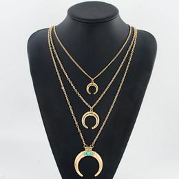 Collana di colore corno online-Collana lunga in argento a più strati Crescent Moon turchese per donne Ciondolo etnico in corno di bue color argento