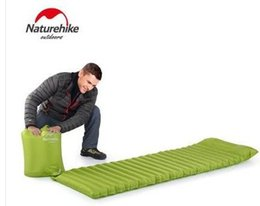 Wholesale Air Filled Pillow - Wholesale- NH ultralight portable sleeping pad fast filling air bag super light inflatable mattress with pillow only 550g
