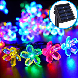 Wholesale Led Holiday Flower Lights Outdoor - Solar powered Sakura flower outdoor led christmas string lights 7M 50LEDs 7 colors led string light christmas holiday garden decorations