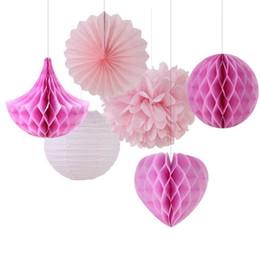 Wholesale Honeycomb Tissue - 6PCS Tissue Paper Pom Poms Fan Paper Honeycomb Balls Drops Paper Lanterns Decor