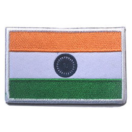 Wholesale National India - 30PCS Embroidered India Flag Patches Army Hook & Loop Patch 3D Tactical Patches Fabric Armband National Indian Flag Badge