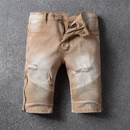 Wholesale Army Pants Medium Regular Vintage - new classic Distressed Ripped Skinny Biker Elastic shorts Jeans VINTAGE zipper Designer Slim Fit Mens Motorcycle Denim Hip Hop shorts pants