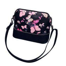Wholesale Butterfly Clutch Purses - Wholesale-Vintage Butterfly Flower women's handbags Printing Shoulder Bag Leather Purse Satchel Clutch Tote Messenger Ladies Bag designer