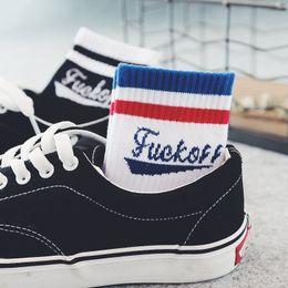 Wholesale Korea Hip Hop - Korea Harajuku Fashion Trends Casual Women Men Art Socks Hip Hop English Wordart Crew Socks cotton blends Skateboard letter sock